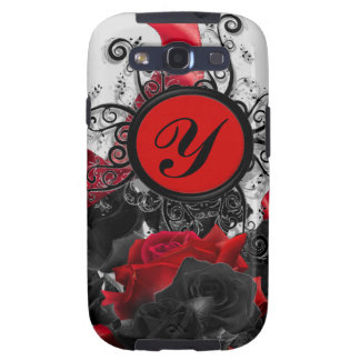 Black Roses Custom Monogram Samsung Galaxy S3 Covers