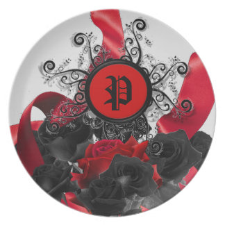 Black Roses Custom Monogram Party Plates