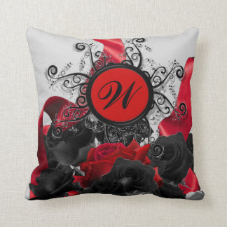 Black Roses Custom Monogram Pillow