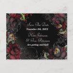 🎃  Black Roses + Skulls Gothic Wedding Postcard