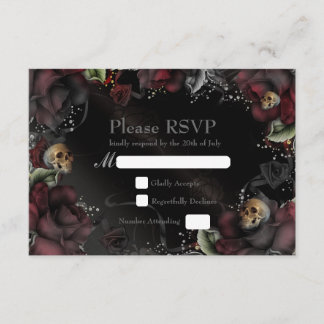 Black Roses & Skulls Gothic Wedding RSVP Card