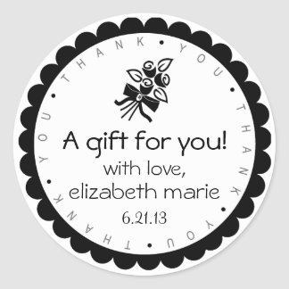 Black Roses Thank You Classic Round Sticker
