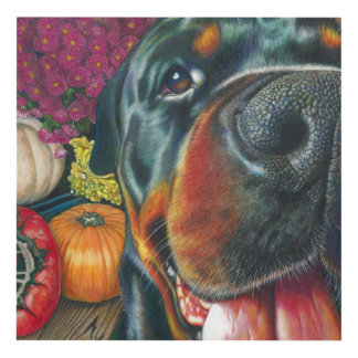 Black Rottweiler Dog Autumn Harvest Pumpkin Art
