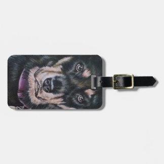 Black Rottweiler Dog Drawing Portrait Luggage Tag