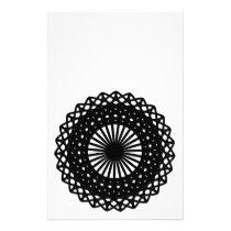 Black Round Lace Style Pattern. Flyer