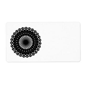 Black Round Lace Style Pattern. Label