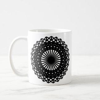 Black Round Lace Style Pattern. Coffee Mug