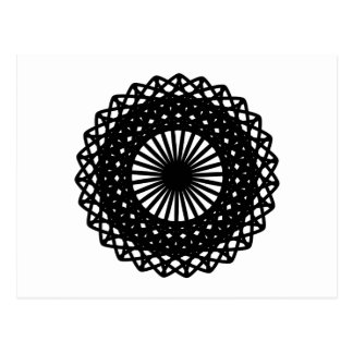 Black Round Lace Style Pattern Postcard