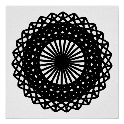 Black Round Lace Style Pattern. Poster