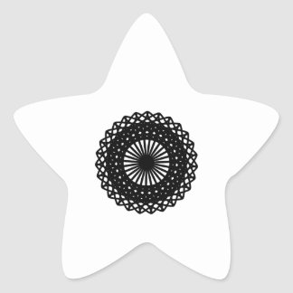 Black Round Lace Style Pattern. Star Stickers