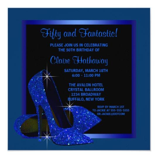 Black Royal Blue High Heels Womans Birthday Party Card