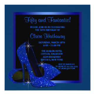 "Black Royal Blue High Heels Womans Birthday Party 5.25"" Square Invitation Card"