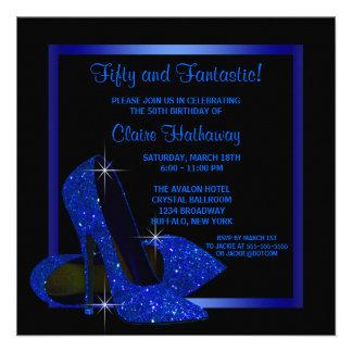 Black Royal Blue High Heels Womans Birthday Party Custom Announcements