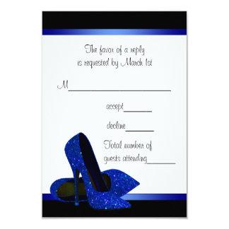 "Black Royal Blue High Heels Womans Birthday RSVP 3.5"" X 5"" Invitation Card"