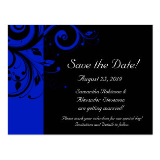 Black/Royal Blue Reverse Swirl Save the Date Postcard
