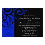 Black/Royal Blue Reverse Swirl Wedding Card