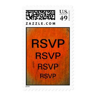 Black RSVP On Orange Stamp