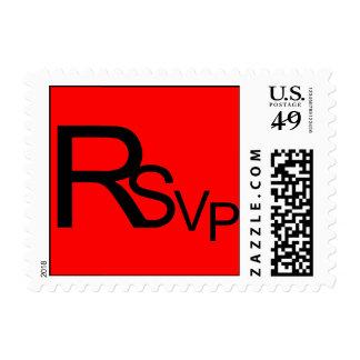 Black RSVP On Red Stamp
