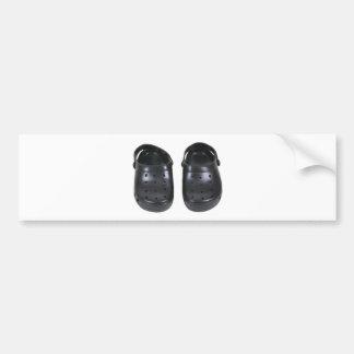 Black rubber clogs bumper sticker