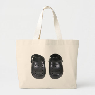 Black rubber clogs large tote bag