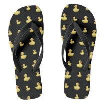 Black rubber duck pattern flip flops