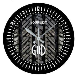 Black Rubber Tire Thread Text Plus Monogram on a Large Clock