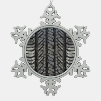 Black Rubber Tire Thread Texture Design Snowflake Pewter Christmas Ornament