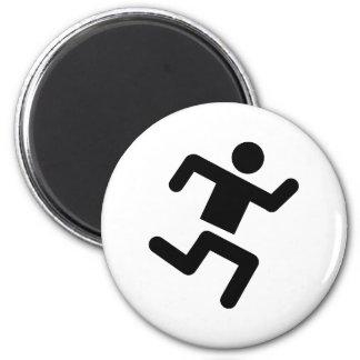 black runner athletics sprinter run 2 inch round magnet