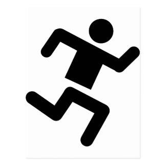 black runner athletics sprinter run post card