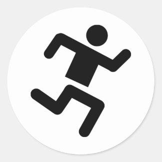 black runner athletics sprinter run round stickers