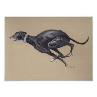 Black Running Greyhound Dog Art Print