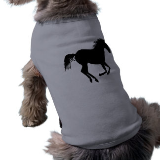 Black Running Horse on Heather Gray Shirt