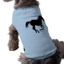 Black Running Horse on Light Blue Shirt