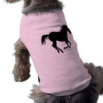 Black Running Horse on Pink T-Shirt