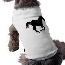 Black Running Horse on White T-Shirt