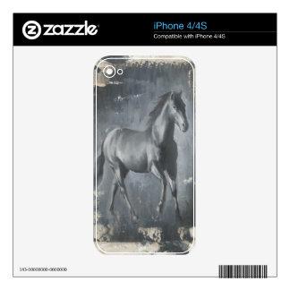 Black Running Stallion iPhone 4S Skin