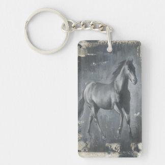 Black Running Stallion Keychain