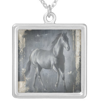 Black Running Stallion Silver Plated Necklace
