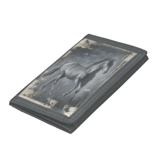 Black Running Stallion Trifold Wallet