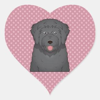 Black Russian Terrier Cartoon Heart Sticker