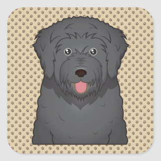 Black Russian Terrier Cartoon Square Sticker