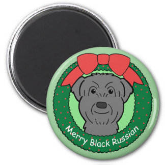 Black Russian Terrier Christmas Magnet