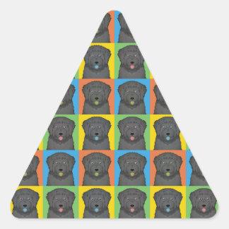 Black Russian Terrier Dog Cartoon Pop-Art Triangle Sticker