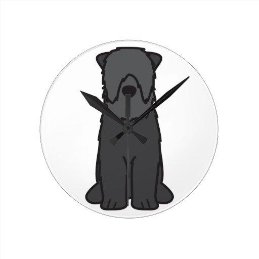 Black Russian Terrier Dog Cartoon Wall Clocks
