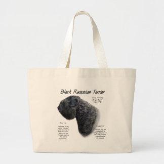 Black Russian Terrier History Design Large Tote Bag