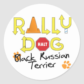 Black Russian Terrier Rally Dog Classic Round Sticker