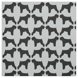 Black Russian Terrier Silhouettes Pattern Fabric