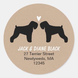Black Russian Terrier Silhouettes Return Address Classic Round Sticker