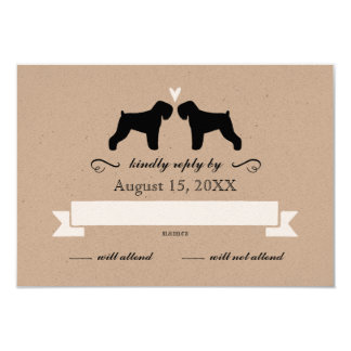 Black Russian Terrier Silhouettes Wedding RSVP Card