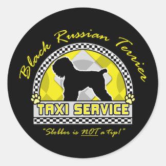 Black Russian Terrier Taxi Service Classic Round Sticker